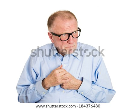 Closeup portrait, nerdy, funny, senior mature man with glasses, very timid, shy, anxious student, socially awkward employee avoiding eye contact isolated, white background. Facial expressions