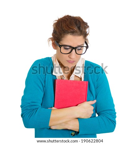 Closeup portrait nerdy insecure young girl with glasses, nervous student looking sideways, avoiding eye contact craving something, anxious, isolated white background. Human emotion, facial expressions - stock photo