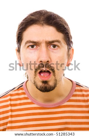 Closeup portrait of a amazed young man,  isolated on white - stock photo