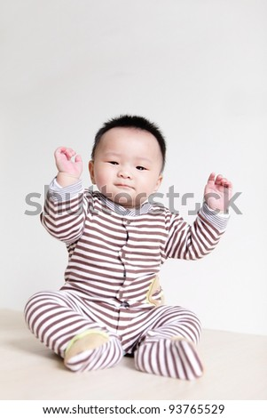 Closeup portrait of a baby boy , a asian child - stock photo