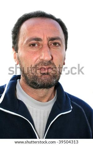 Closeup portrait of a bearded man. - stock photo