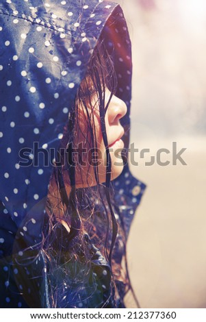 Closeup portrait of a beautiful little girl with wet hair - stock photo