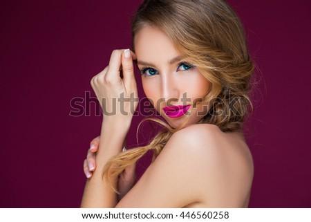 closeup portrait of a beautiful summer style - stock photo