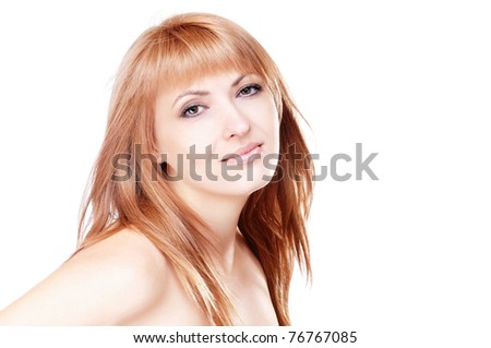 Closeup portrait of a beautiful woman isolated on white background
