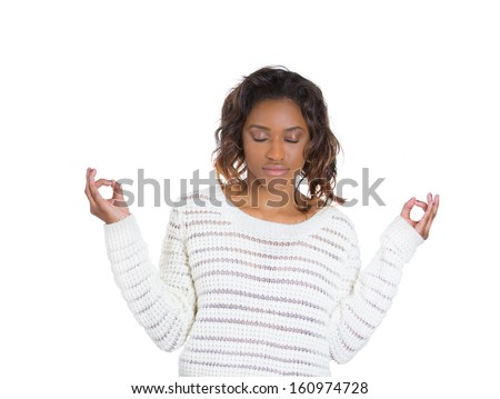 Closeup portrait of a beautiful young woman closing her eyes, crossing her fingers hoping for the best, isolated on a white background with copy space. Human emotions and facial expressions. - stock photo