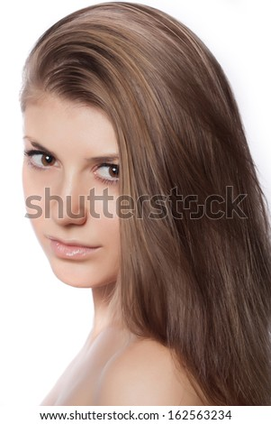 Closeup portrait of a beautiful young woman. Skin care concept. Natural look. - stock photo