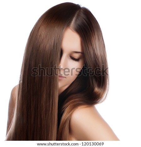 closeup portrait of a beautiful young woman with elegant long shiny hair
