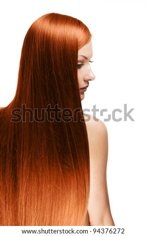 closeup portrait of a beautiful young woman with elegant long shiny red hair from back , hairstyle , isolated on white background ,  healthy straight  hair - stock photo