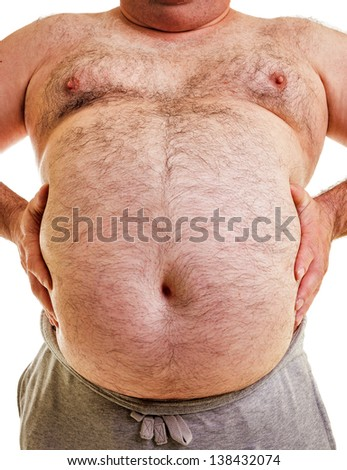 Closeup portrait of a big belly on white background