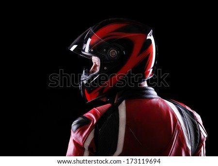 closeup portrait of a biker back view - stock photo
