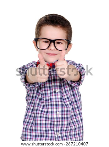 closeup portrait of a boy showing thumbs up