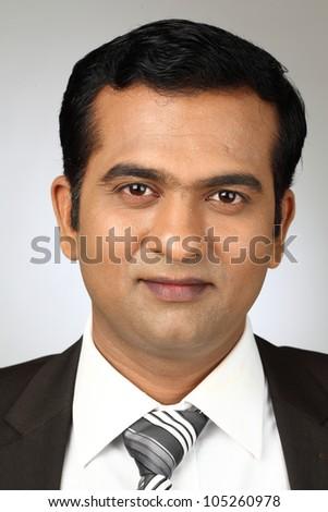 Closeup portrait of a  business man - stock photo