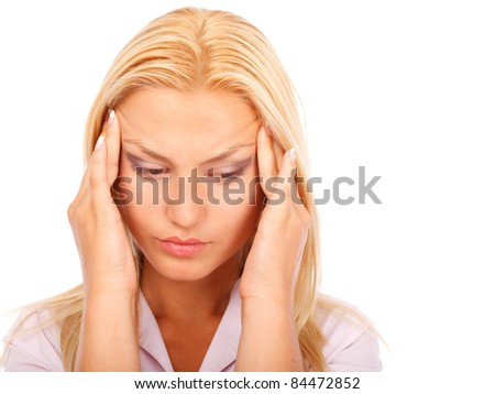 Closeup portrait of a businesswoman with headache isolated on white background