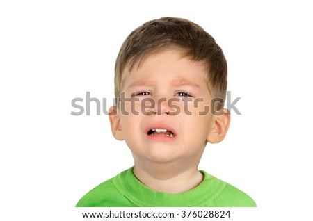 Closeup portrait of a crying little boy isolated on white background - stock photo
