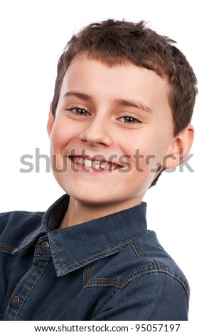 Closeup portrait of a cute boy isolated on white background - stock photo