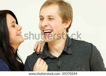 Closeup portrait of a cute young woman with her boyfriend