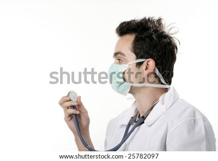 Closeup portrait of a doctor. - stock photo