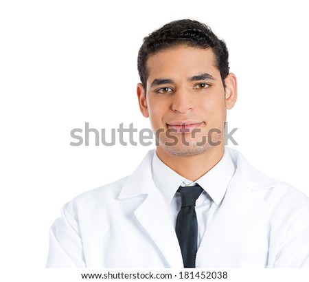 Closeup portrait of a friendly, happy, confident male healthcare professional, dentist, doctor, nurse, assistant, isolated on white background. Positive human face expressions, emotions, attitude - stock photo
