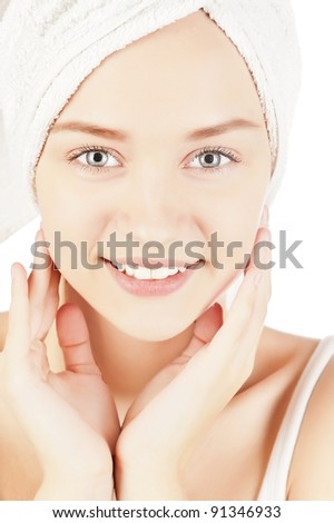 closeup portrait of a girl, skin care, cotton pads, healthy skin, beautiful face, without makeup, isolated on white background, make the procedure for skin care