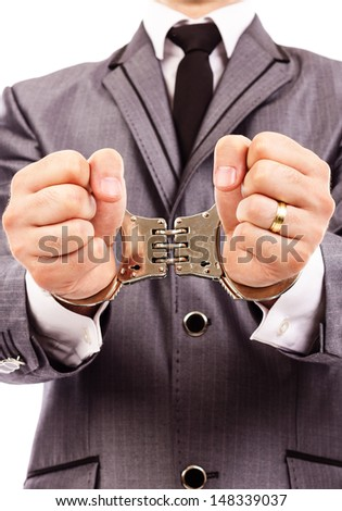 Closeup portrait of a  handcuffed hands. White background