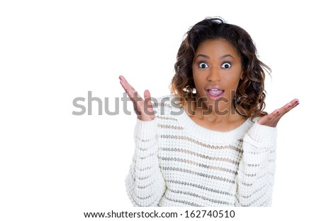Closeup portrait of a happy cute young beautiful woman looking shocked and surprised in full disbelief, isolated on white background copy space to left. Positive human emotions and facial expressions  - stock photo