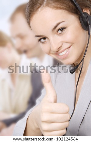 Closeup portrait of a happy female customer service representative - stock photo