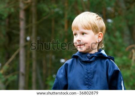 closeup portrait of a little attractive boy - stock photo