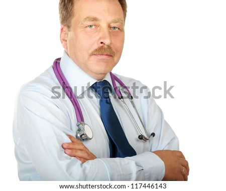 Closeup portrait of a male doctor, isolated on white background