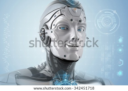 Closeup portrait of a male robot with smiling face and shining digital blue eyes. Futuristic background with virtual HUD icons for your design. Artificial good mood head of cybernetic creature. - stock photo