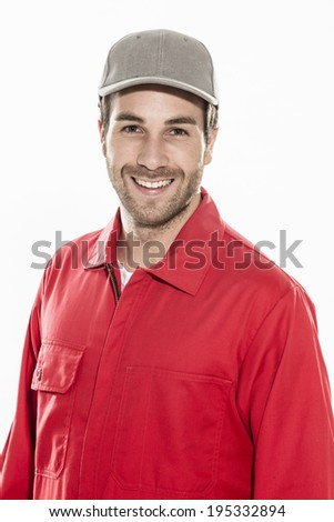 closeup portrait of a man with expressive face in workwear - stock photo