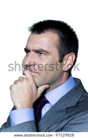 Closeup portrait of a pensive worried businessman in studio on isolated white background - stock photo