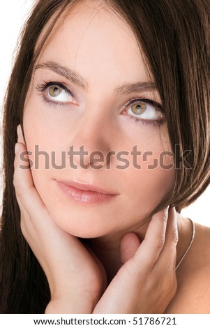 Closeup portrait of a pretty girl. Isolated