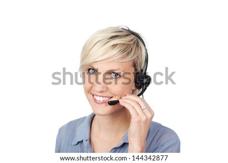 Closeup portrait of a pretty young woman with headset against white background