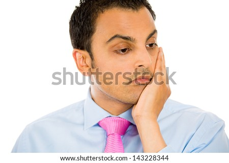 Closeup portrait of a sad, depressed, tired  businessman in deep thought, isolated on white background - stock photo