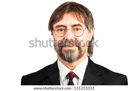 closeup portrait of a senior businessman smiling