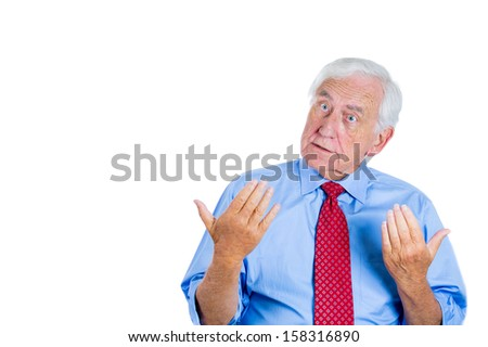Closeup portrait of a senior executive, elderly businessman, grandpa trying to prove his point and asking a question do you understand me? Human conflict resolution and interpersonal communication - stock photo