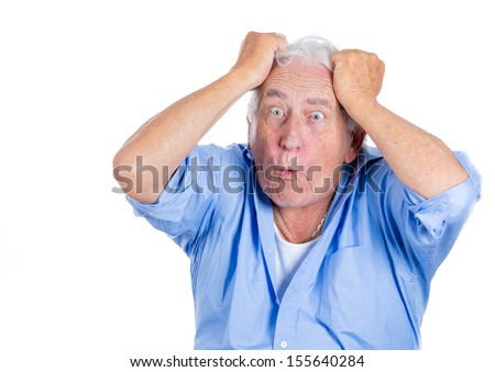 Closeup portrait of a senior man, grandfather, pulling out his hair, looking surprised, shocked, scared,isolated on white background. Bad unexpected news, unpleasant conversation. Conflict situation. - stock photo