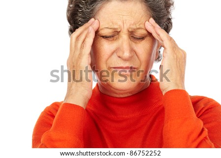 Closeup portrait of a senior woman with migraine isolated on white background