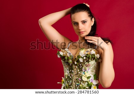 closeup portrait of a sexy young woman in  corset  against red  background - stock photo