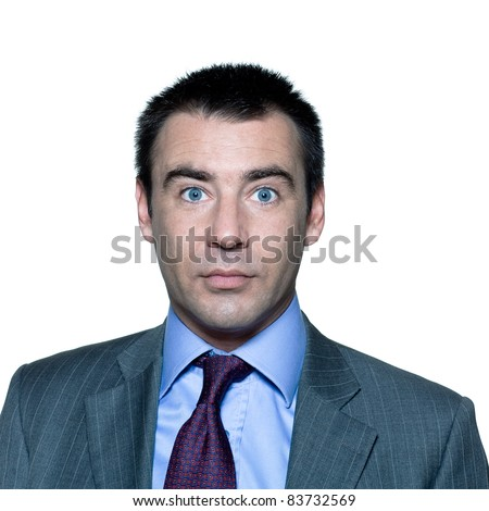 Closeup portrait of a shocked handsome mature man with wide open eyes in studio on isolated white background - stock photo