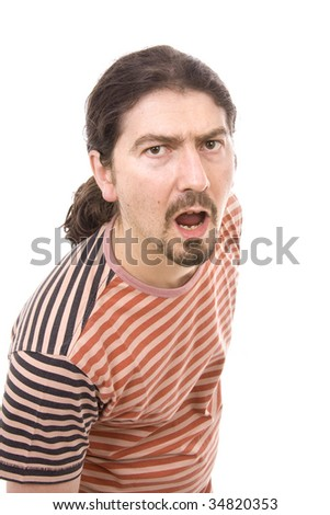 Closeup portrait of a shocked young man isolated - stock photo