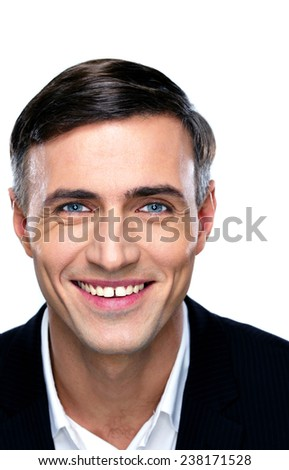 Closeup portrait of a smiling businessman over white background - stock photo