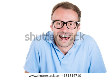 Closeup portrait of a smiling happy nerdy,goofy, book worm, student wearing isolated on white background - stock photo