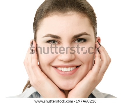Closeup portrait of a smiling young girl - stock photo