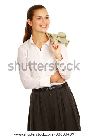 Closeup portrait of a successful woman, isolated on white background