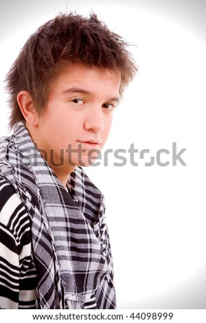 Closeup portrait of a young guy, isolated on white background - stock photo