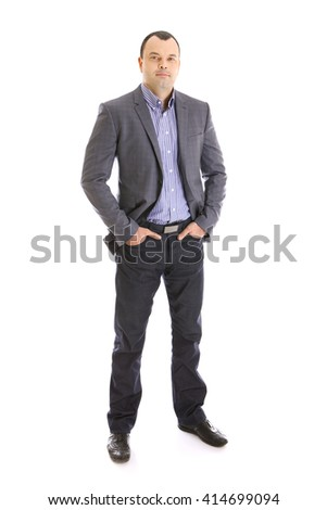 closeup portrait of a young handsome businessman - stock photo