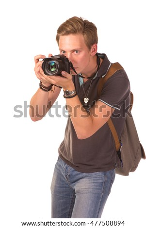 Closeup portrait of a young man taking a picture over white background