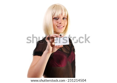 Closeup portrait of a young smiling business woman credit card on a white background - stock photo