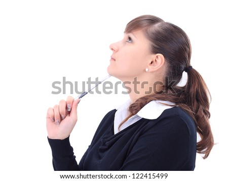Closeup portrait of a young woman white background